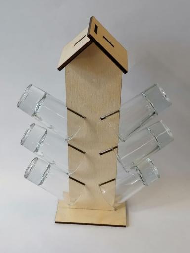 Pálinkás pohár szett faházikó formában
