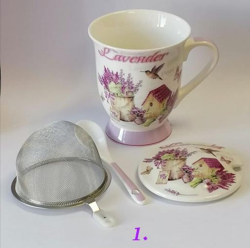 Levendulás teaszűrős bögre