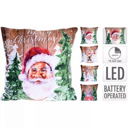 LED-es világítós díszpárna - mikulás